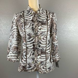 Chico's Metallic Reptile Pattern Open Front Jacket
